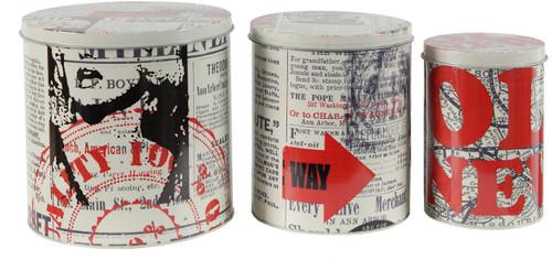 Tin Metal Box W/ Lid Old News Paper I Set Of 3
