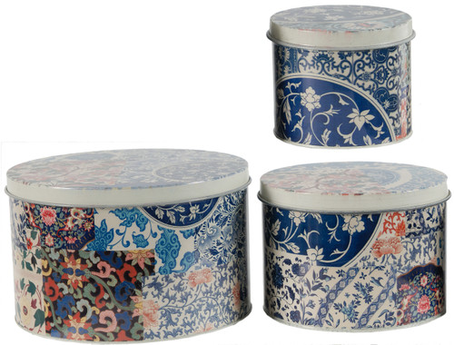 Tin Metal Box W/ Lid French Floral Ii Set Of 3