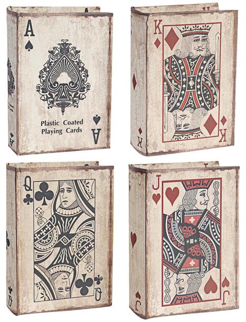 Vintage Style Book Boxes Poker, 4-Piece Set