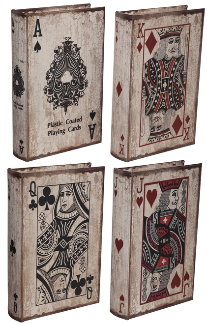 "Vintage Style Book Box Poker 10""X7""X2"" Set Of 4"