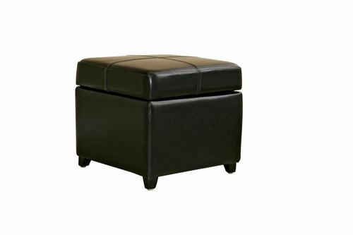 Baxton Studio Black Full Leather Storage Cube Ottoman