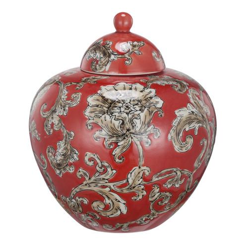 Red Floral Lidded Etched Ceramic Jar