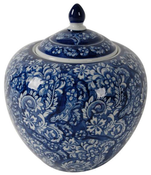 "9.8"" Blue and White Round Ginger Jar"
