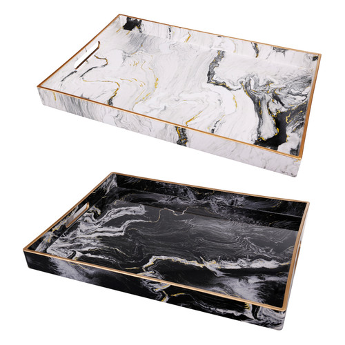 Set Of 2 Black & White Marble Look Trays