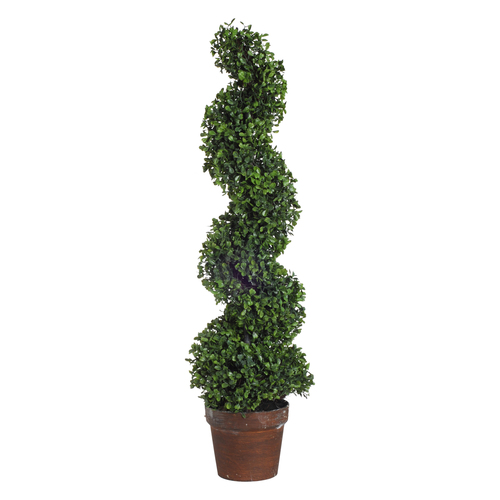 """35"""" Potted Spiral Faux Boxwood"""