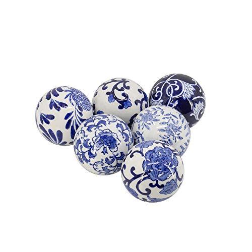 A&B Home Set of 6 Blue White Decorative Orbs