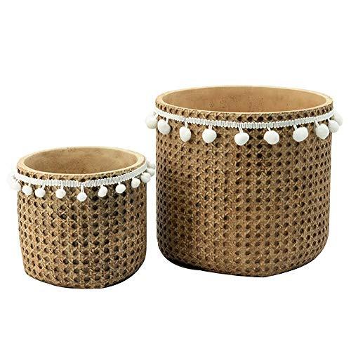 """10"""" Cement Wicker Basket Planter Set"""