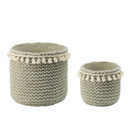 Cement Sage Green Tassel Basket Planters Set of 2