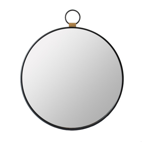 Oval Round Stopwatch Wall Mirror with Single Loop and Wood Accent