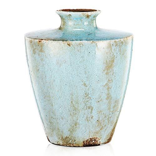 "A&B Home Farmhouse Country Terracotta Vase Multi Purpose Distressed Light Blue Gold 9"" x 7"" x 12"""