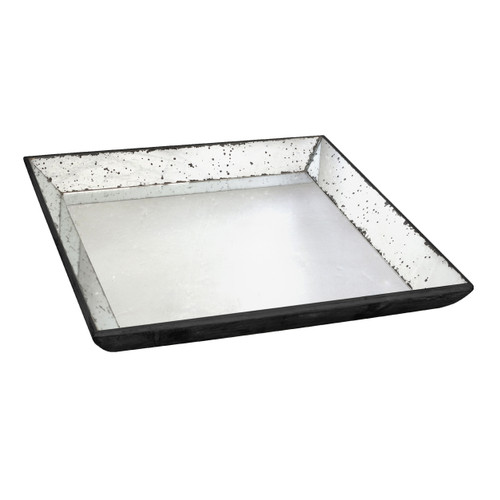 This 20-inch Waverly Mirrored Square Tray, Medium is finished with an antique-glass style on its frame to give it a vintage flavor. You can hang this accent or use as a tabletop accent.