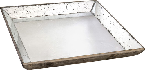 "Mirror Glass Tray, 24""x24"""