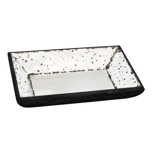 "Black Frame Mirror Glass Tray, 13""X9"""