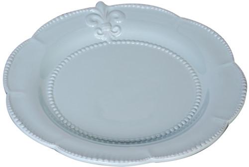 """Lot Of 4 Ceramic Fleur-De-Lis Salad Plate Blue 9.5"""""""