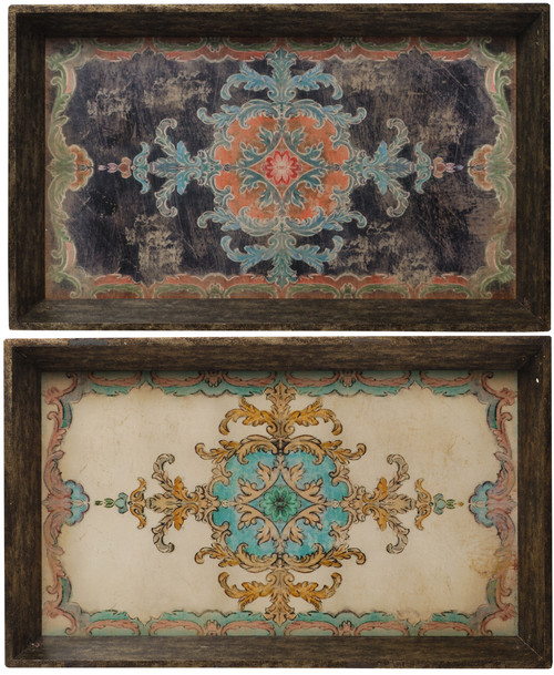 Rustic Chic By  Set Of 2 Painted Wooden Serving Trays, Multi