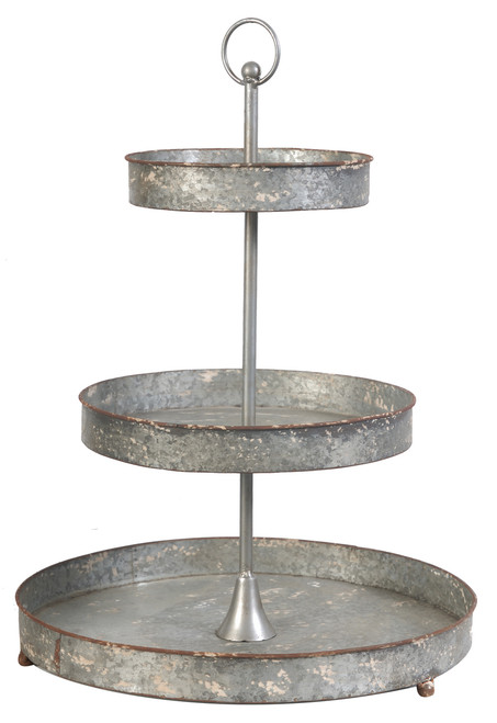 3-Tier Tin Metal Tray