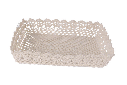 """Lot Of 2 Cotton Resin Lace Tray Beige 15X11X3"""""""