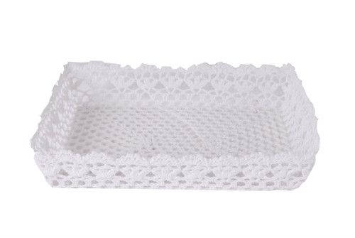 """Lot Of 2 Cotton Resin Lace Tray White 15X11X3"""""""