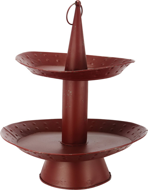 2-Tiered Metal Tray Red