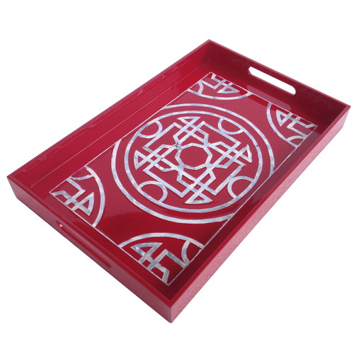 "Lacquered Tray Mother Of Pearl Inlay Red 20""X13"""