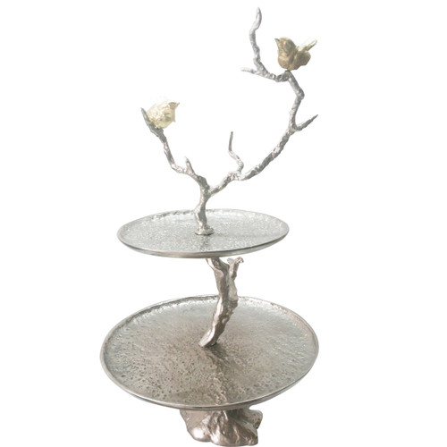 """2-Tiered Tray Tree Branch With Birds Design 24"""""""