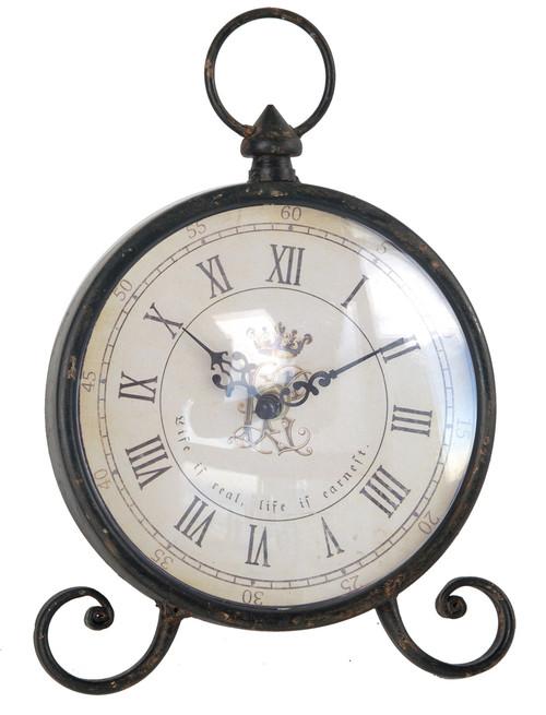 "Antiqued Metal Table Clock 7""X2""X10"""