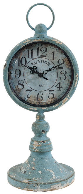 Antiqued Metal Pedestal Clock