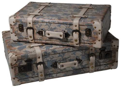 Antiquued Suitcase Shaped Trunk Set Of 2