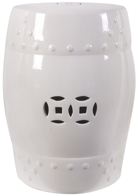 "18"" Ceramic Garden Stool White"