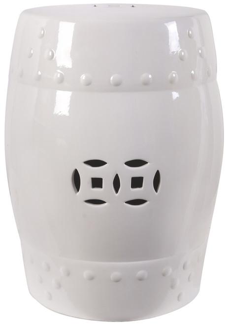 """18"""" Ceramic Garden Stool White"""