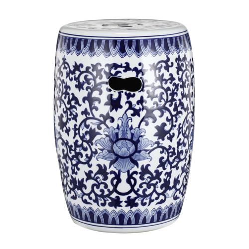 "16"" Blue And White Round Ceramic Garden Stool"