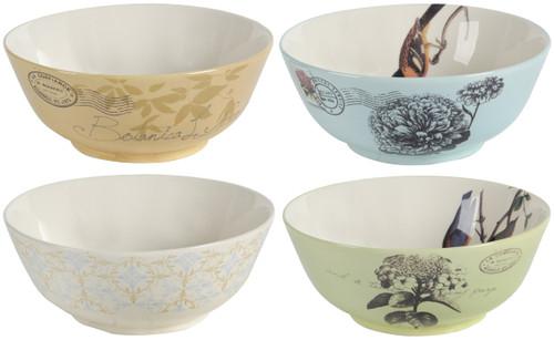 Multicolor Ceramic Soup Cereal Bowls, Set of 4 Bowls