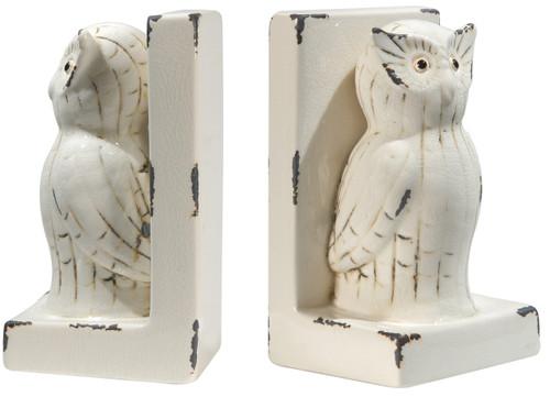 Ceramic Owl Bookends, Set Of 2