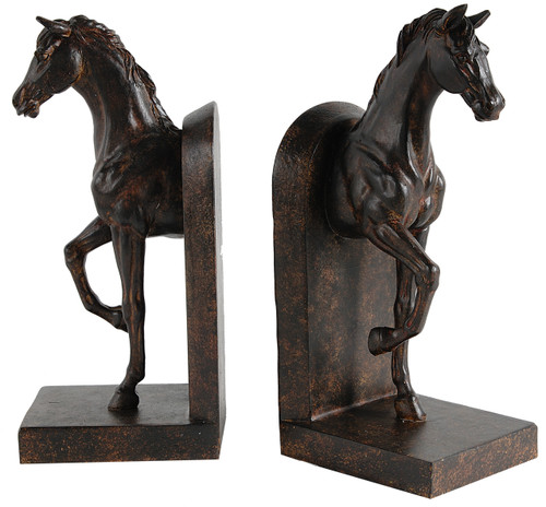 """10"""" Brown Steeplechase Horse Bookends Set Of 2"""