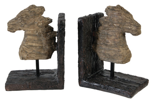 """Wood-Style Horse Bookends, Set Of 2, 11.6""""X4""""X7.6"""""""