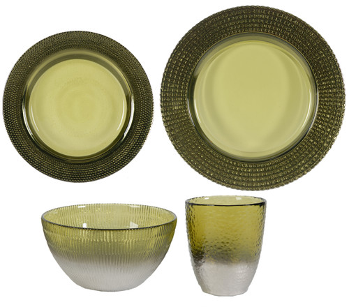 Glass Dinnerware Plate Bowl Cup Set Of 4 Green