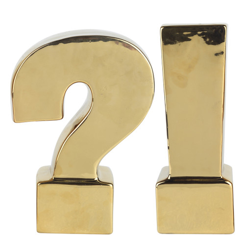 Kathy Ireland, Gold, Set Of 2 Question & Exclamation Mark Bookends