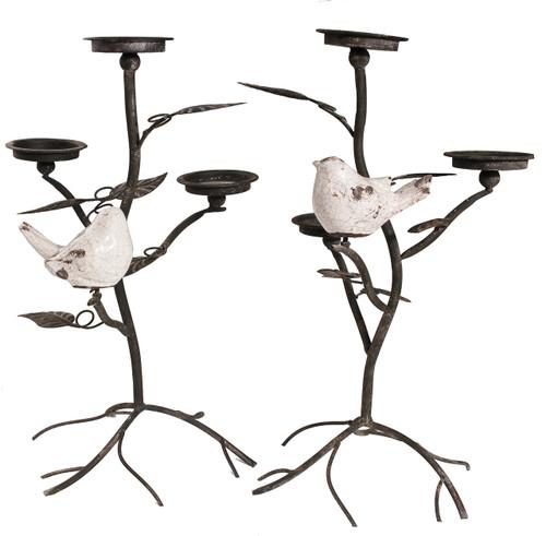 "Metal Candleholder Birds 13""x12""x22"" Set Of 2"