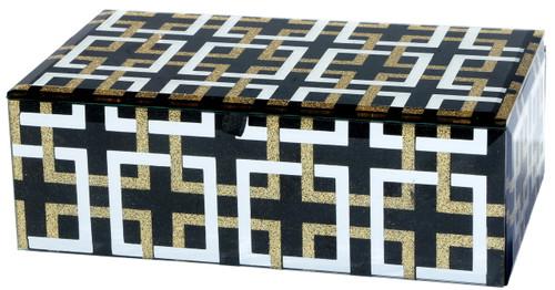 """Lot Of 2 Glass Decorative Box W/ Geometric Pattern 7X5X3"""""""