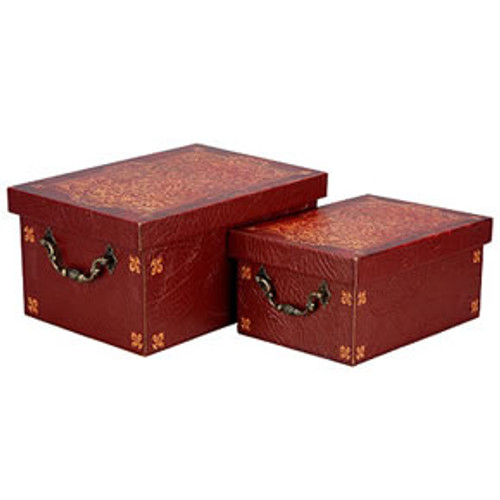 Wooden Box With Faux Leather Cover #B1, Set Of 2