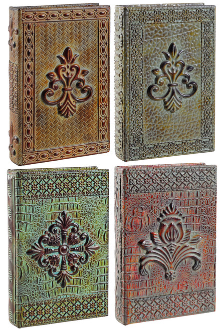 Wooden Book Box W/ Faux Leather Cover Set Of 4 #Db