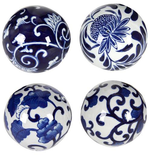 Porcelain Blue White Decorative Balls, 4-Piece Set
