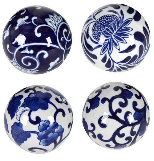 Set of 4 Blue & White Decorative Orbs