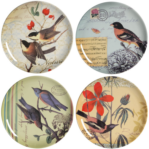 Bird Ceramic Plates, Set of 4 Different Plates