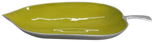 """Aluminum Leaf Shaped Platter Green 23""""x10""""x3.5"""""""