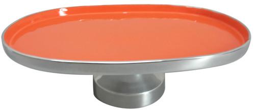 """Aluminum Footed Platter Orange 16""""X11""""X5"""""""