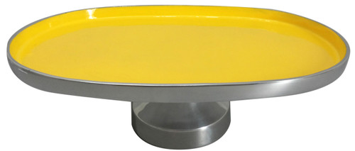 """Aluminum Footed Platter Yellow 16""""X11""""X5"""""""