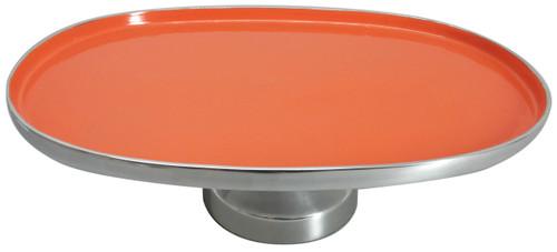 """Aluminum Footed Platter Orange 20""""X14""""X6"""""""