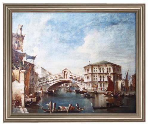 """The Grand Cannal With Gondolas And The Rialto Bridge"" Framed Art Print"