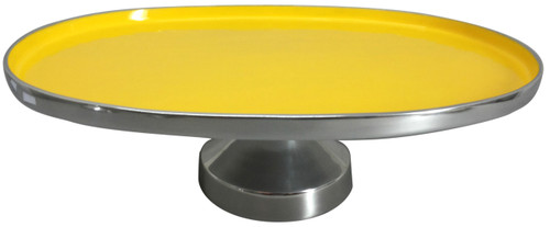 """Aluminum Footed Platter Yellow 20""""X14""""X6"""""""
